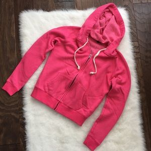 Bright pink full zip sweatshirt